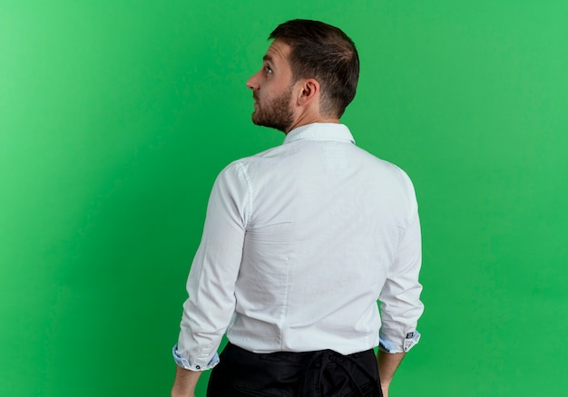 Handsome man stands looking at side, back view, isolated on green wall
