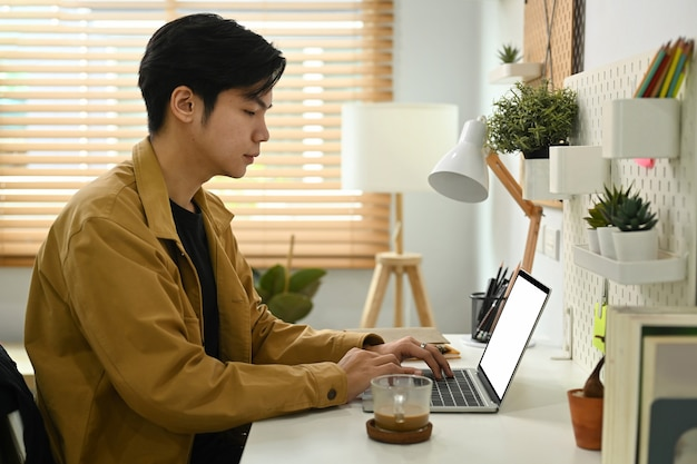 Handsome man using computer laptop at home office.