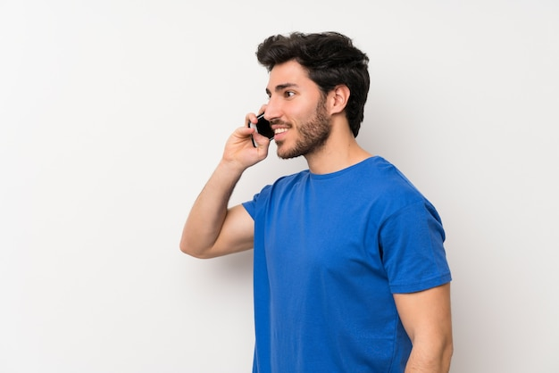 Handsome man using mobile phone
