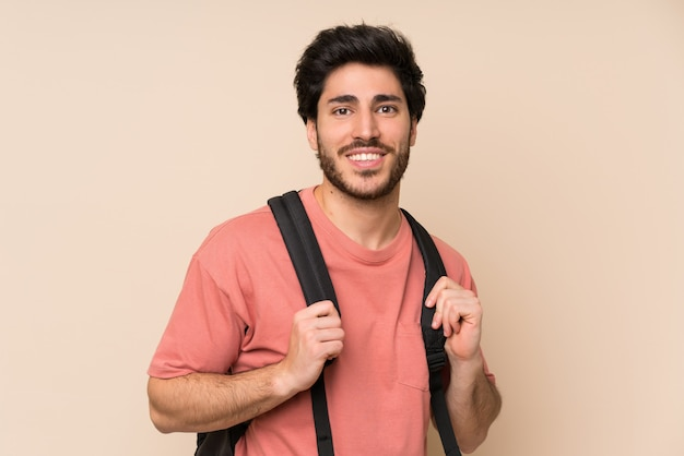 Handsome man with backpack