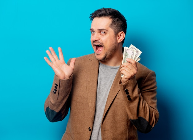 Handsome man with dollars