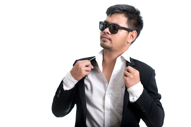 Handsome man with sunglasses on white background