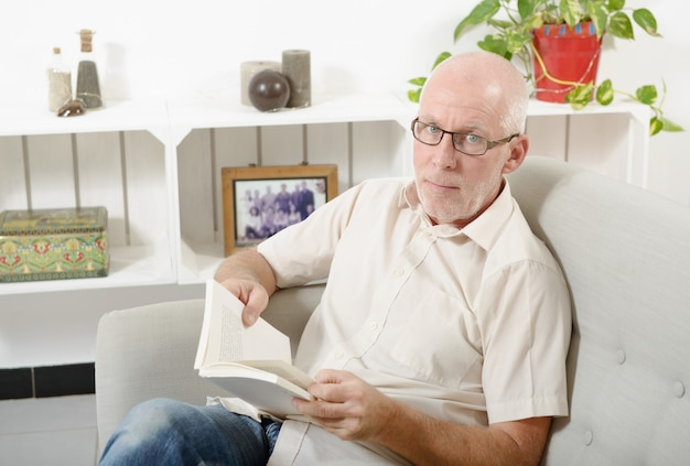 Handsome mature man read a book