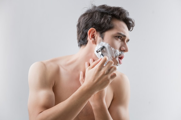 Handsome men are shave and beard