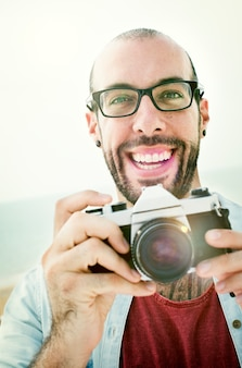 Handsome Photographer Man Beach Vacation Lifestyle Concept