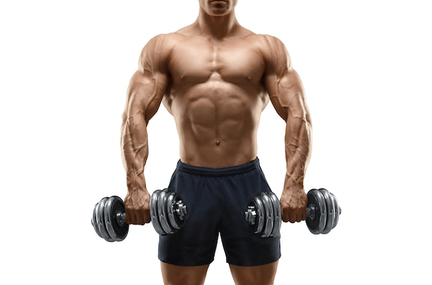 Handsome power athletic man bodybuilder doing exercises with dumbbell fitness muscular body isolated