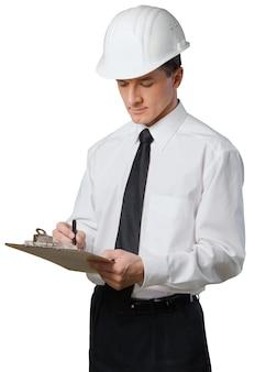 白い背景で隔離のハンサムな安全検査官