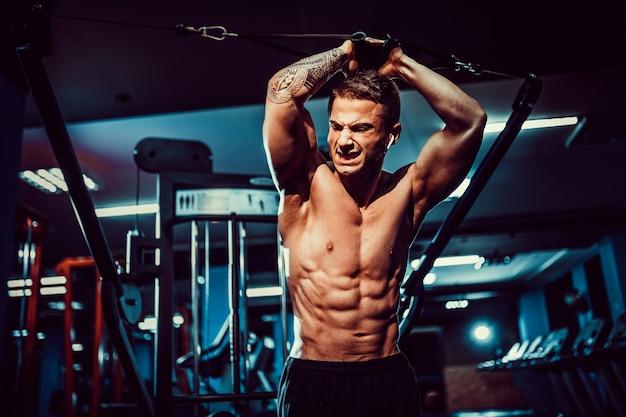 クランチマシンでジムトレーニング6パックでハンサムな上半身裸フィットネスモデル。腹筋の概念を閉じます。ヘルスケア