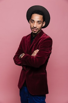 Handsome stylish afro american man in jacket and hat