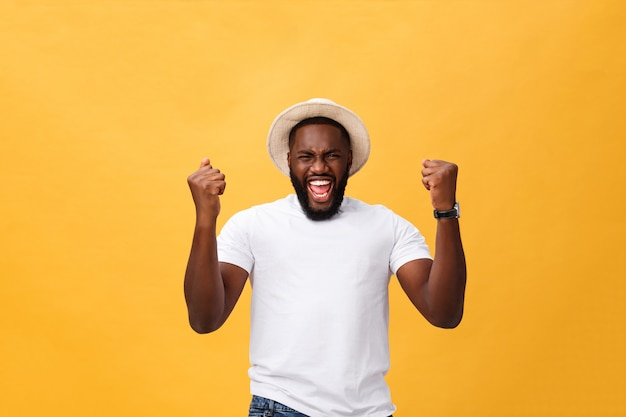 Handsome young afro-american man employee feeling excited, gesturing actively