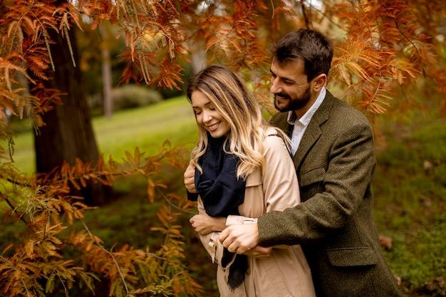 Красивая молодая пара в осеннем парке