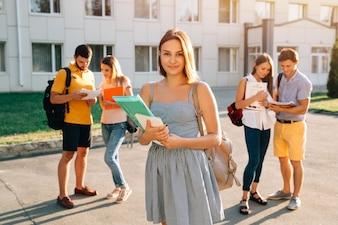若い、女の子、赤、ベルベット、バックパック