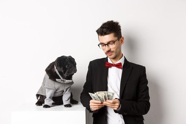Bel giovane in abito in piedi vicino a un carlino nero in costume e conta soldi, lavorando su feste, in posa su sfondo bianco.