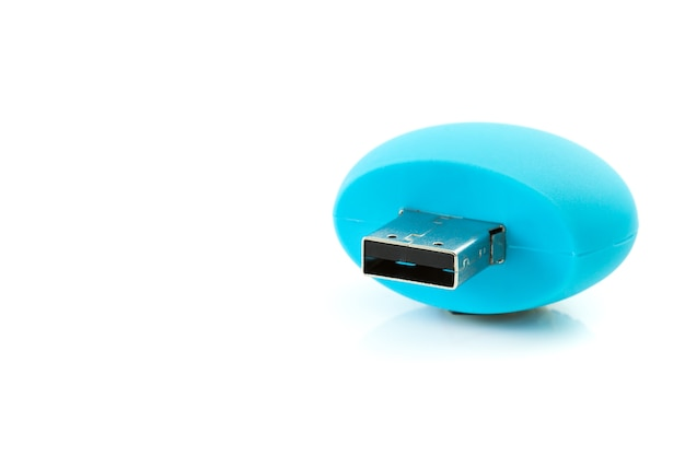 Handy drive - usb flash memory blue with copy space isolated on the white background