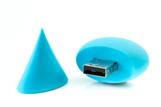 Handy drive - usb flash memory blue with cover isolated on the white background