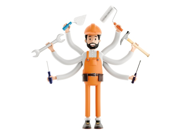 Концепция разнорабочего, строитель-сантехник или маляр-штукатур мультипликационный персонаж, забавный рабочий или инженер с гаечным ключом, отверткой, молотком и роликом в руках