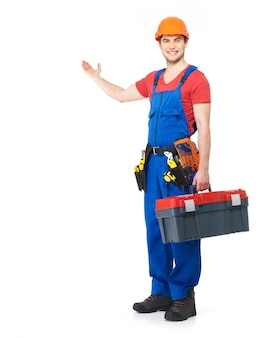 Handyman with tools full portrait on white