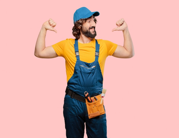 Handyman worker happy and proud
