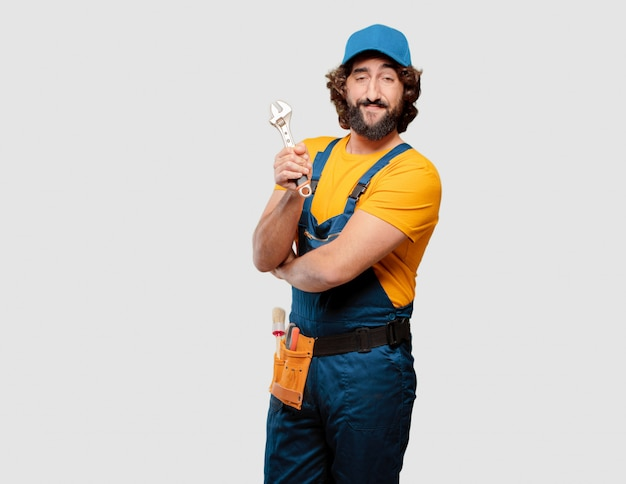 Handyman worker holding a wrench