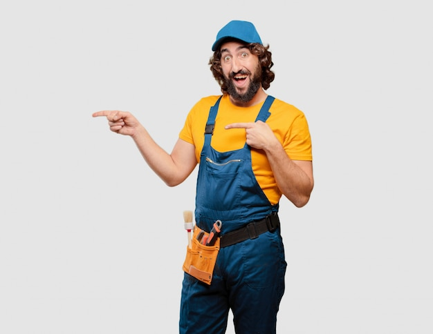 Handyman worker pointing