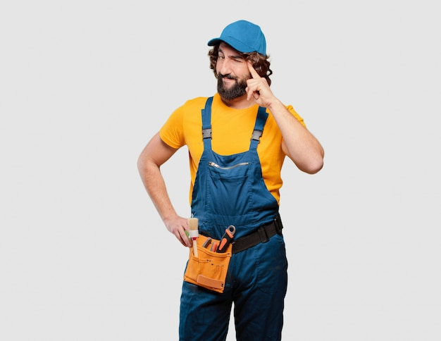Handyman worker thinking