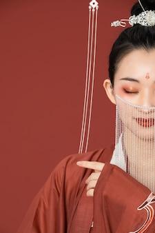Hanfu ancient beauty wearing a veil