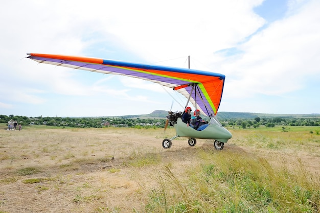 Hang-gliding in the sky
