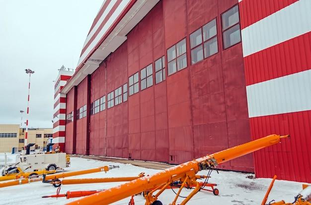 Hangar for aircraft maintenance at the airport