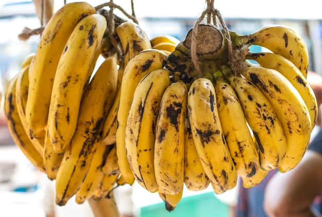 길 옆에 있는 찻집에 잘 익은 바나나 다발을 매달았다