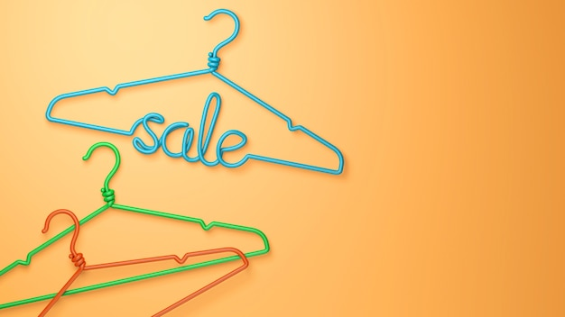 A hanger with the inscription sale in green on an orange background. copy space for text. 3d render.