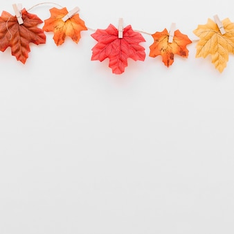 Hanging autumn leaves concept