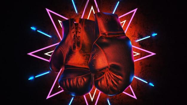 Боксерские перчатки висит на деревянной предпосылке. 3d визуализации и иллюстрации.