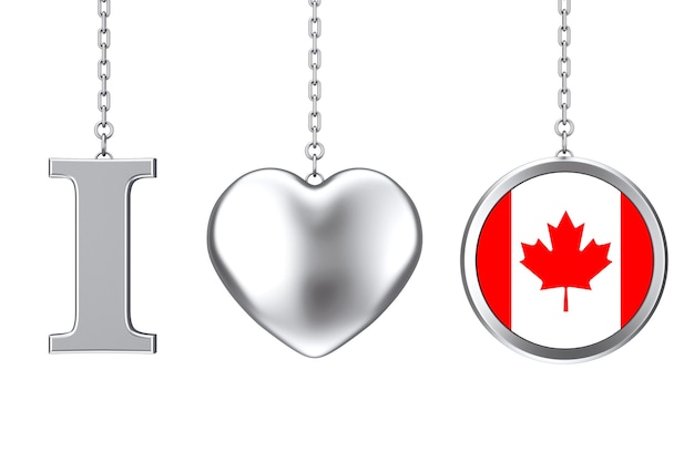 Hanging by chain i love canada sign as silver heart and badge with canadian flag on a white background. 3d rendering