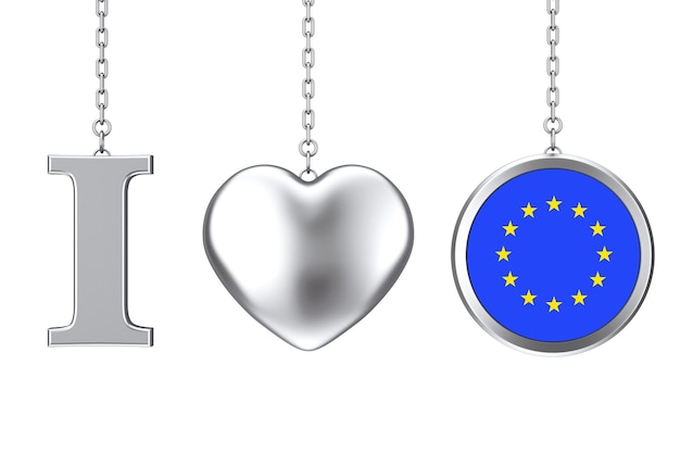 Hanging by chain i love canada sign as silver heart and badge with european union flag on a white background. 3d rendering