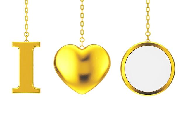 Висячие на цепочке я люблю что-то знак как золотое сердце и пустой значок с свободным пространством для вашего дизайна на белом фоне. 3d рендеринг