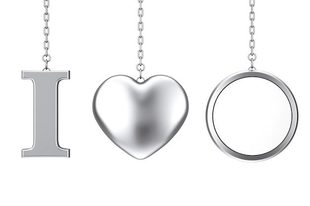 На цепочке висит знак «я люблю что-то» в виде серебряного сердца и пустой значок со свободным пространством для вашего дизайна на белом фоне. 3d рендеринг