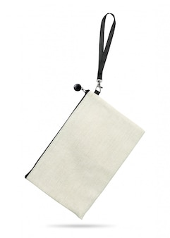 Hanging fabric bag isolated on white background.