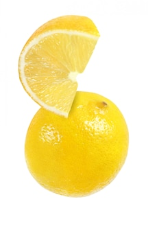 Hanging, falling, hovering, flying piece of lemon fruits isolated on white background with clipping path