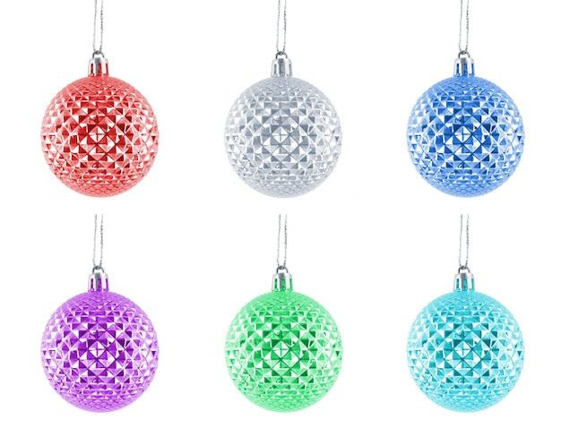 Hanging glassy shiny christmas baubles multicolor set isolated on a white background.