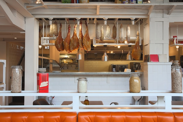 Hanging ham sausages and cereal counter cafe