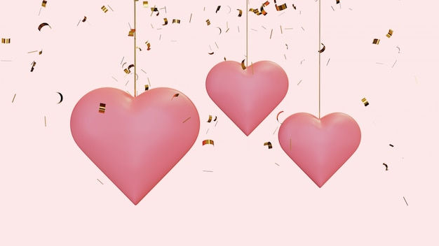Hanging hearts with flying confetti