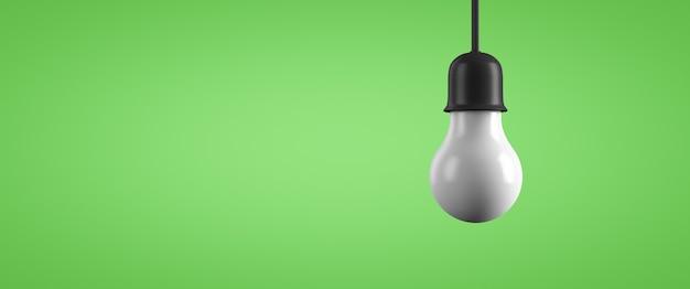 녹색 배경에 매달려 램프. 텍스트를 놓습니다.