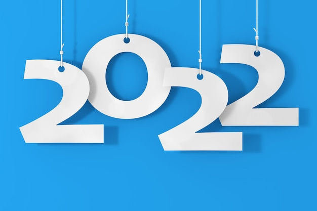青い背景にロープの新しい2022年のサインにぶら下がっています。 3dレンダリング