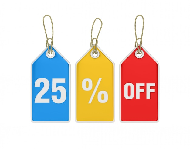 Hanging shopping price tag 25% off
