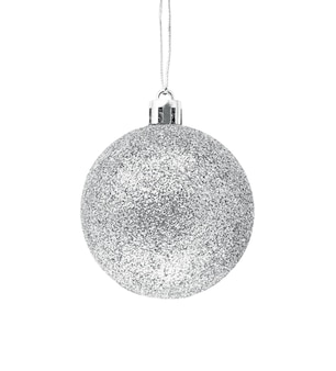 Hanging silver glitter christmas bauble isolated on a white background