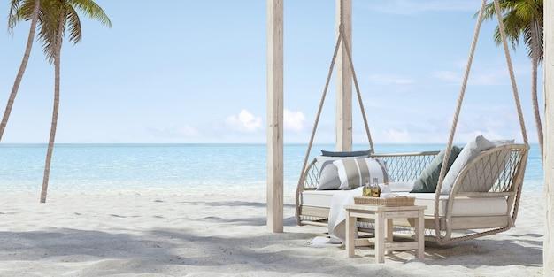 Подвесной диван на песчаном пляже с видом на пальмы и море