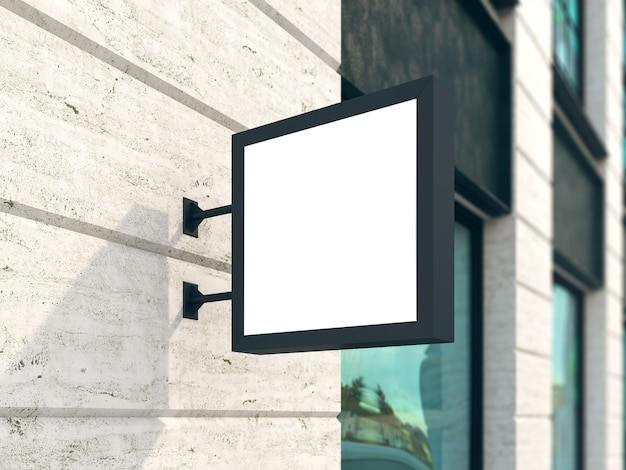 Hanging wall sign mockup, square billboard