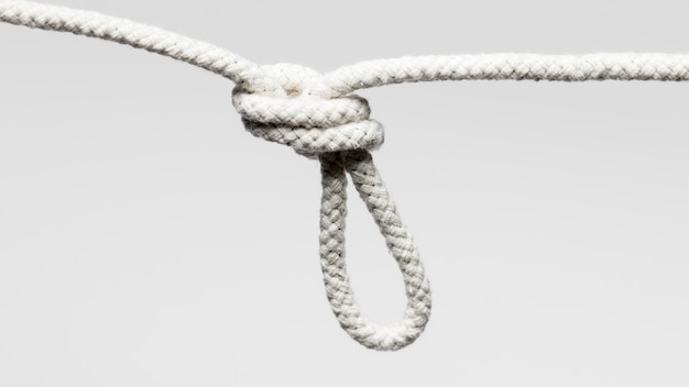 Hanging white twisted cotton rope