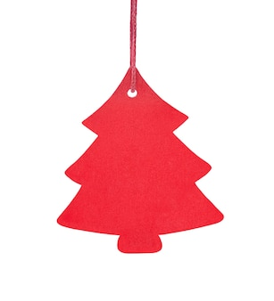 Hanging wooden christmas tree ornament isolated on a white background.