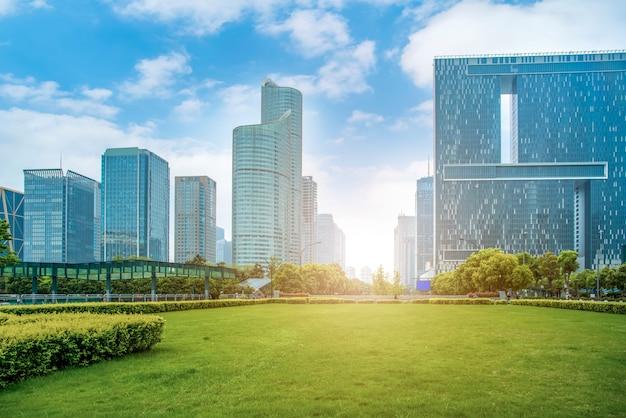 Hangzhou financial district square and skyscraper